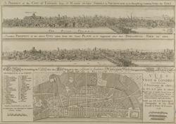 A Plan for Rebuilding the CITY after the Fire = VUES DE LA VILLE de LONDRES Comme il etoit devant & apres L'INCENDIE de 1666